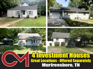 REAL ESTATE: 4 Investment Houses, Murfreesboro, TN