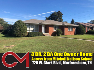 REAL ESTATE: 726 W. Clark Blvd, Murfreesboro, TN