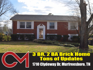 REAL ESTATE: 1710 Clydeway Dr, Murfreesboro, TN - ONLINE ONLY