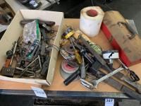Assortment of Tools with Tool Box - Allen Wrenches, Grinding Stone, Sand Paper, and more