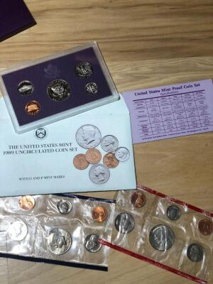 United States Mint 1989 Uncirculated Coin Set D&P Mint Marks and United States Mint Proof Set 1990