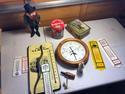 Misc. Items- COCA-COLA Tin, Clock, JOHN DEERE & CO-OP Thermometers, Etc.