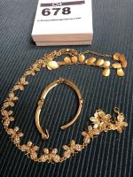 Assortment of Golden Costume Jewelry Including Butterfly Necklace