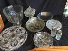 Variety of glassware: serving platters, covered candy dishes, bowls, trifle bowl,  salt & pepper