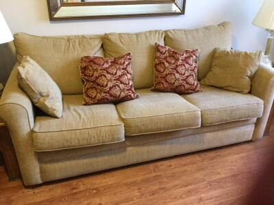 Lazy Boy Sleeper Sofa with inflatable mattress with throw pillows (tag still attached)