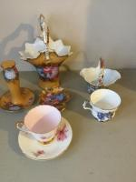 Variety of pieces of glassware tea cups, saucer, handled basket, matching basket & additional pieces