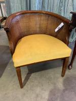 Antique Accent Chair with Wicker Backing