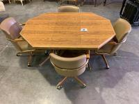 Octagon Shaped Dinning Table with (4) Rolling Chairs - 1 Leaf for Table