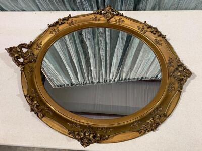 "Wooden Framed Oval Mirror - 2'-10""H x 2'-4""W"