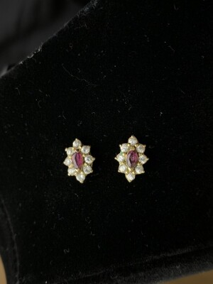 14K Yellow Gold Ruby/Diamond Earrings (missing one nut)