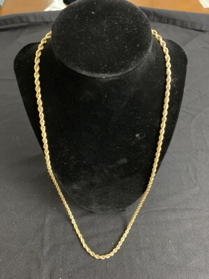 9K Yellow Gold Rope Chain w/Rect Box Clamp