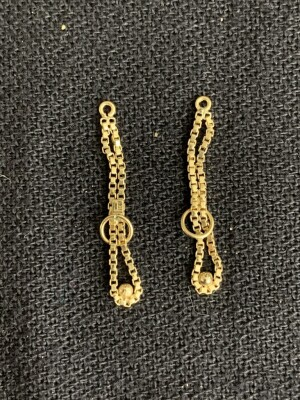 14K Yellow  Gold Box Chain Earring Jackets