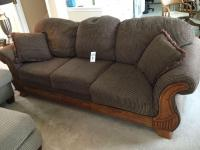 Cloth/wood sofa with pillow back & throw pillows