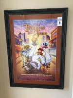 Movie poster wood frame with matting (2 additional posters behind - Micky Mouse & Rocky 2 poster)