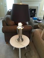Metal lamp with shade & round 3 legged table