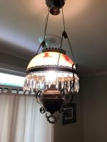 Antique Electrified Hanging Metal Oil Lamp w/ Ceramic Shade