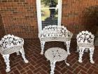 Cast Iron Garden Furniture Set- Chairs (2), Bench, Table