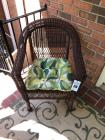 Pair of Wicker Patio Chairs w/ Cushion- 36in. T