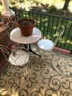Stone Top Patio Table w/ Metal Chairs (3)