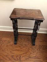 Antique Two-Piece Wooden Side Table- 24in. T x 18in. W x 12in. D