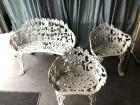 Decorative Cast Iron Garden Bench and Chairs (2)