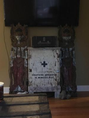 Indian Artifacts with Antique Cabinet