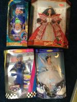 3 Barbie collector pieces (Christmas '97, 50th NASCAR, & Swan Lake - still in box) & Snow White series (Sleepy & Dopey) piece still in box