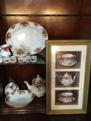 "Serving pieces & framed picture with ""Old Country Roses"" Bone china from England: Platter, bowl, Tea pitcher, sugar, creamer, napkin rings, tea cup & saucer on stand & framed picture"