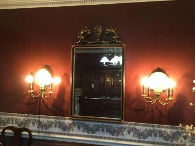 "Beveled mirror  (45""x26.5"")and 2 wall lights  with gold accent"