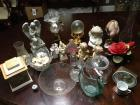 Variety of decorative items: glass bowls, dishes, angels, shell lamp, etc.