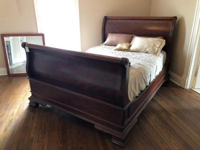 "Wooden Sleigh Bed - Queen Sized - 66""W x 92""L"