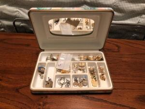 Jewelry Box w/ Variety of Earrings