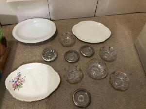 Misc. Items- Glass Bowls, Ceramic Platters, Glass Coasters, Etc.
