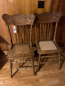 (2) Cane Bottom Ladder Back Chairs