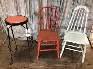 Soda Fountain Stool (30.5H) & (2) Vintage Wooden Chairs (Center: 16 x 15.5 x 34, Right: 15 x 16.5 x 37)