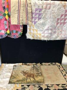 Variety of Vintage Textiles including Full-Size Wedding Ring Quilt-Top