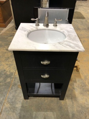 Bathroom Sink Console with Stainless Steel Fixtures and (appears to be) Granite Top - 21 inches deep x 24 inches wide x 35 inches high (top of counter)