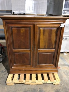 Large Wooden Entertainment Center on Casters - 21 inches deep x 45 inches wide x 51 inches tall