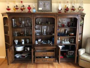 Large Wooden Display Cabinet (5 separate sections) - 18 inches L x 138 inches W x 77.5 inches H - buyer bring help to load