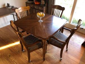 "Oak Dining Room Table with 18"" Leaf (chairs sold separately)- 42 inches x 42 inches x 29.5 inches in height"
