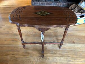 Wooden Display Table with Decorative Inlay - 18 inches L x 30 inches W x 29 inches H