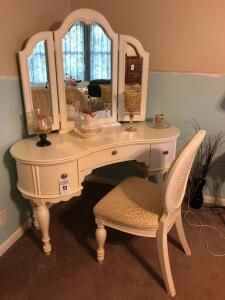 White Vanity with Trifold Mirror & Matching Chair by American Signature Home - Rose Garden Collection (items on vanity sold separately) - see photos f