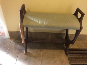 Small Cushioned Wood Bench - 24 inches wide