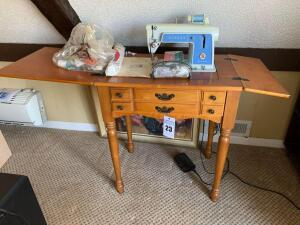Vintage Hideaway Singer Sewing Machine Model 604 - 18 inches L x 53.5 inches W x 30.5 inches H