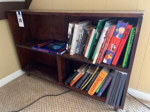 Small Bookshelf w/ Assortment of Books - 9 inches D x 42 inches W x 28 inches H