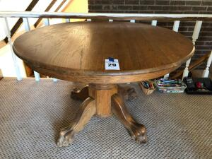Oak Clawfoot Table - 48 inches in diameter, 29 inches in height