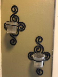 Decorative Metal Wall Sconces with Glass Candleholders