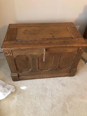 Vintage Wooden Chest w/ Contents- 22in. T x 34in. W x 21in. D
