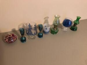 Variety of Antique Glass Lanterns and Decorative Glass Bowls