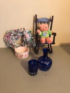 Misc. Items- Small Wooden Rocking Chair, Teddy Bear, Ceramic Bowl, Etc